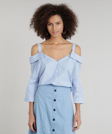 Camisa-Feminina-Open-Shoulder-Listrada-Manga-Curta-Decote-V-Azul-9195799-Azul_1