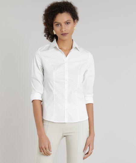 dd9280ac5 Menor preço em Camisa Feminina Básica Estampada de Poás Manga Longa Off  White