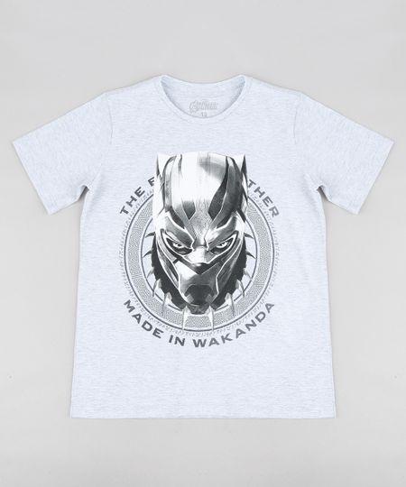61abf69dc Menor preço em Camiseta Infantil Pantera Negra Os Vingadores Manga Curta  Gola Careca Cinza Mescla Claro