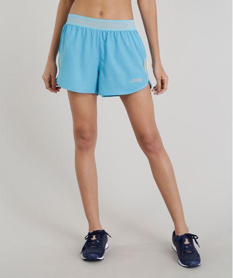 192142728 Short Feminino Running Esportivo Ace com Bolso Azul - cea