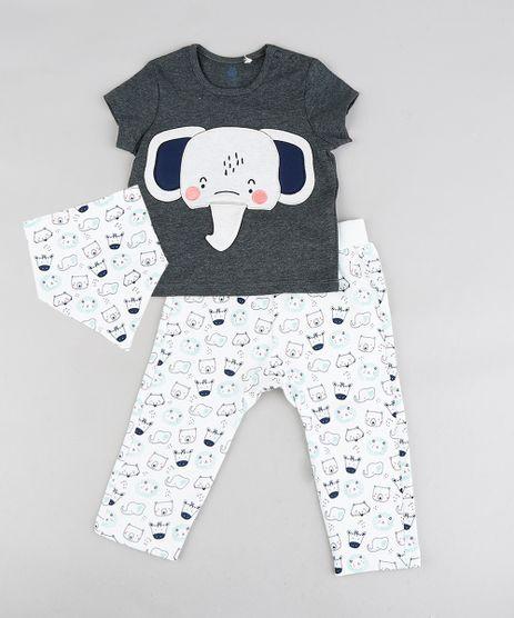 Conjunto-Infantil-de-Camiseta-Estampa-Interativa-Elefante-Manga-Curta-Cinza-Mescla-Escuro---Calca-Estampada-de-Bichos---Babador-Off-White-9118889-Off_White_1