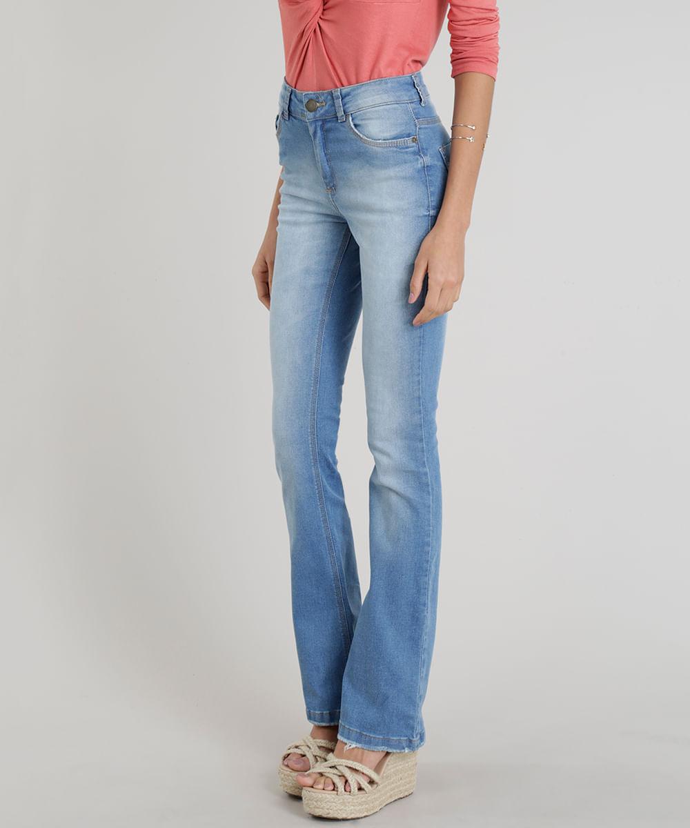 8ff878eec Calça Jeans Feminina Flare Cintura Alta Azul Claro - cea