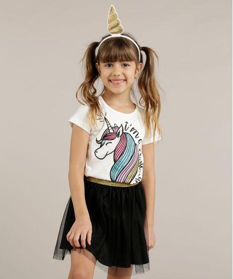62839dae6ab624 Blusa Infantil Unicórnio com Glitter + Tiara Manga Curta Decote ...