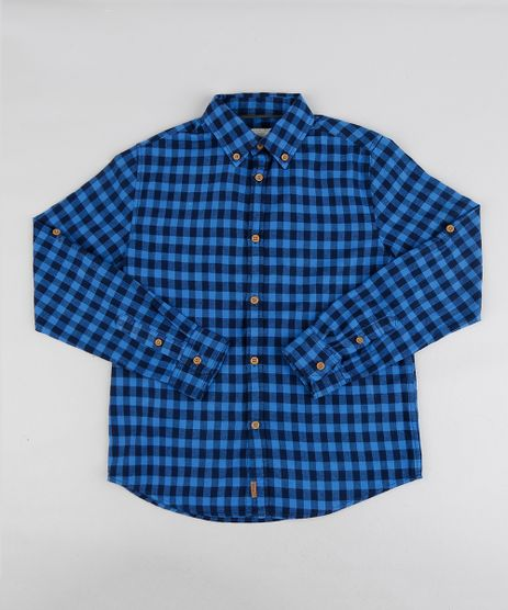 Camisa-Infantil-Estampada-Xadrez-Manga-Longa-Azul-Royal-9187081-Azul_Royal_1