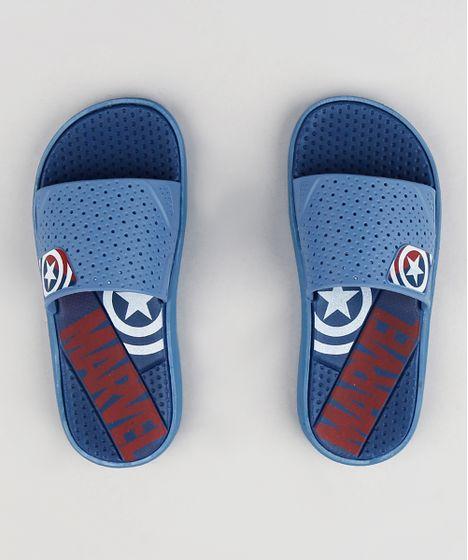 823fee74c1 Chinelo Slide Infantil Grendene Capitão América Marvel Azul - cea