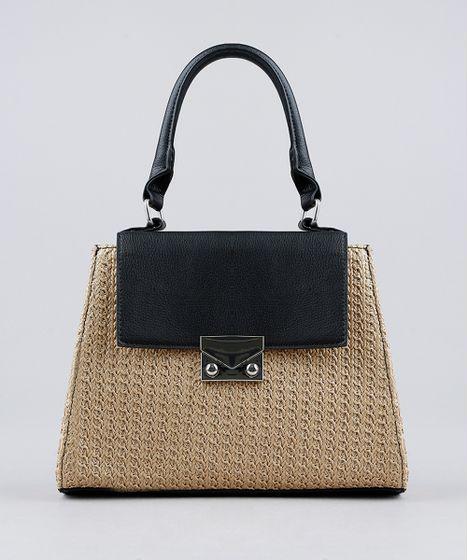 7a06008ed Bolsa-Transversal-com-Textura-de-Palha-Preta-9194449- ...