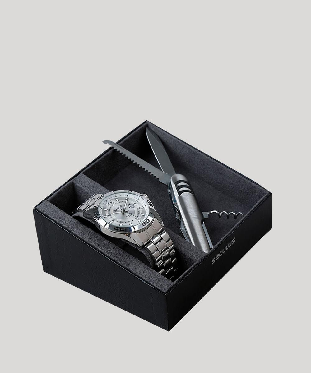 77049a4d8 Kit de Relógio Analógico Seculus Masculino + Canivete - 28989G0SVNA1K  Prateado - Único
