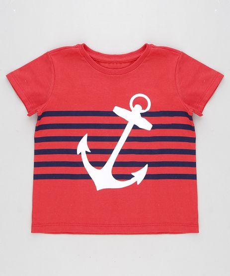 Camiseta-Infantil-Ancora-com-Listras-Manga-Curta-Gola-Careca-Vermelha-8631376-Vermelho_1