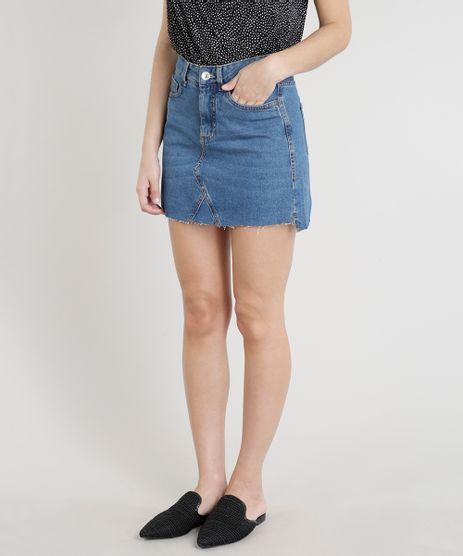 Saia-Jeans-Feminina-Evase-com-Barra-Desfiada-Azul-Escuro-9310414-Azul_Escuro_1