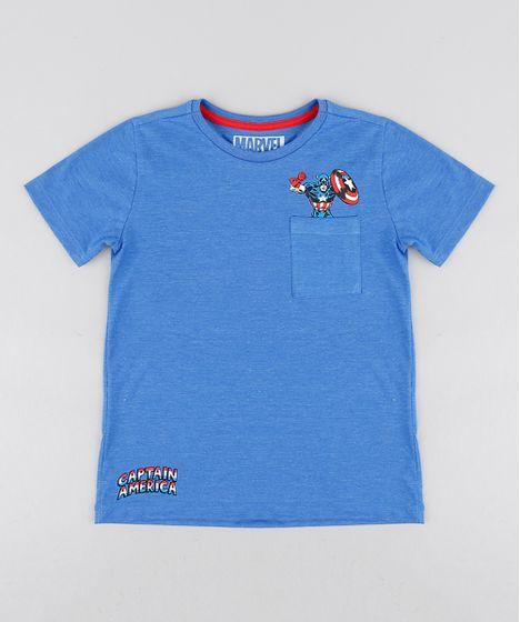 Camiseta Infantil Capitão América com Bolso Manga Curta Gola Careca ... 33f683a190a26