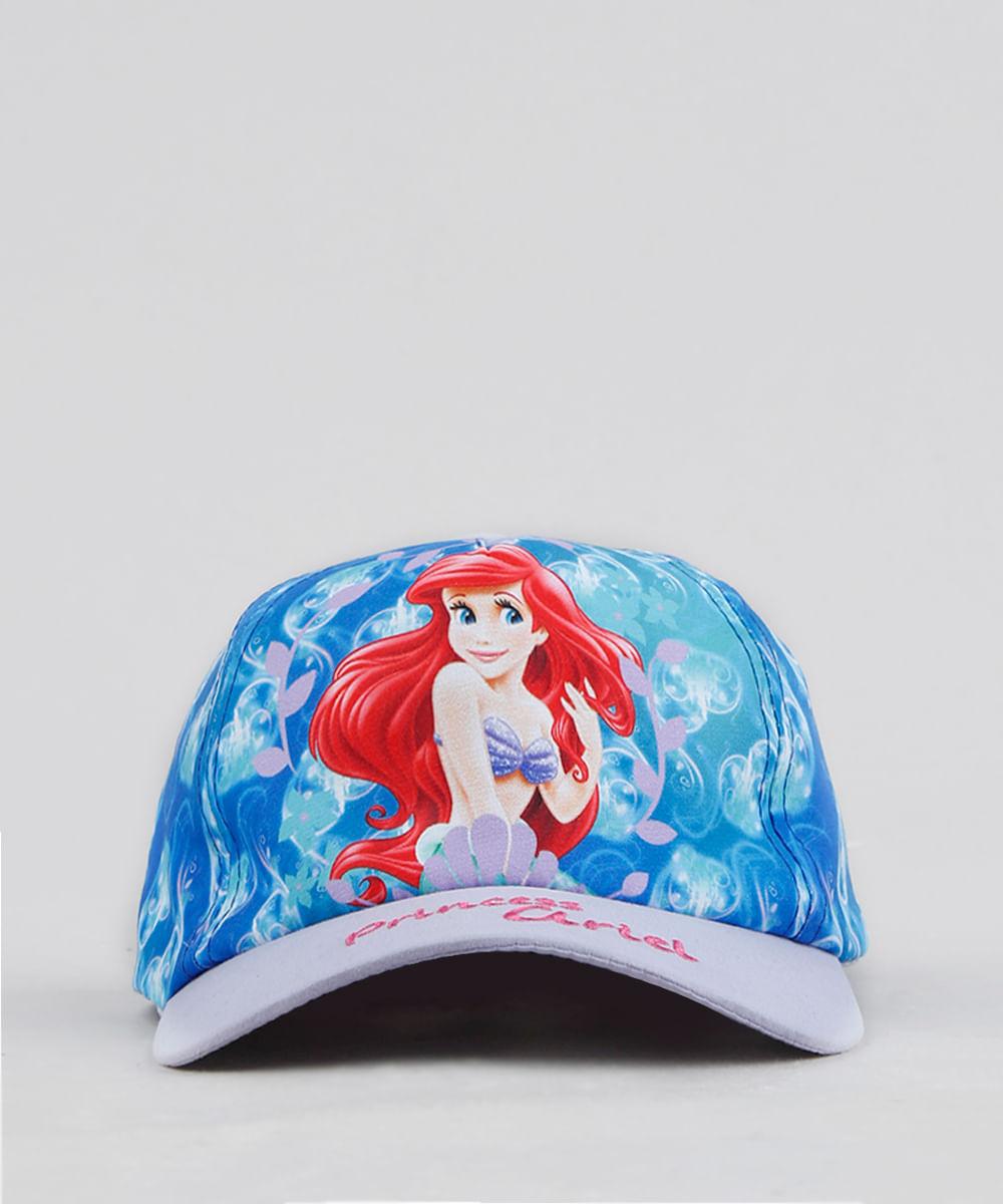 Boné Infantil Aba Curva Estampado Pequena Sereia Ariel Azul - cea d4ca48665f5