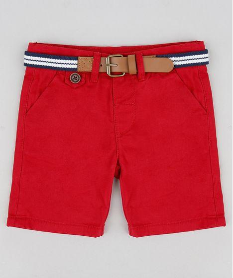 Bermuda-Color-Infantil-Slim-com-Cinto--Vermelha-8710132 ... e4c4773cc4738