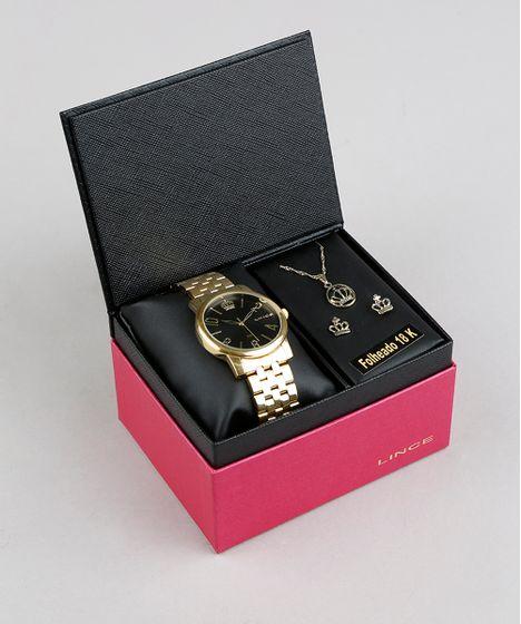 72d8cb6e7e0 Kit de Relógio Analógico Lince Feminino + Brinco + Colar - LRG4555L ...