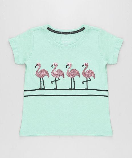 Blusa-Infantil-Flamingo-com-Paetes-Manga-Curta-Decote-Redondo-Verde-9245411-Verde_1