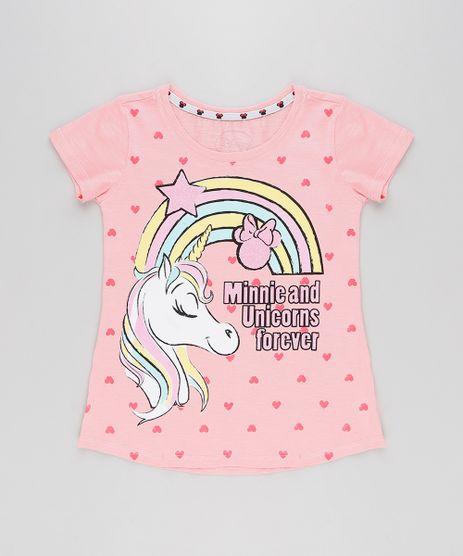 Blusa-Infantil-Minnie-e-Unicornio-com-Glitter-Manga-Curta-Decote-Redondo-Rosa-9268819-Rosa_1