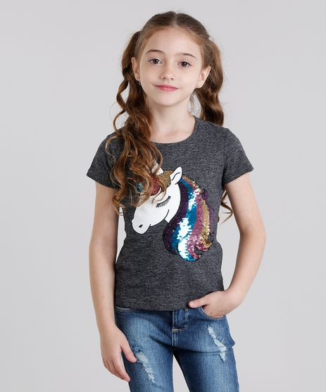 Blusa-Infantil-Unicornio-com-Paete-Dupla-Face-Manga-Curta-Decote-Redondo-Cinza-Mescla-Escuro-9131094-Cinza_Mescla_Escuro_1