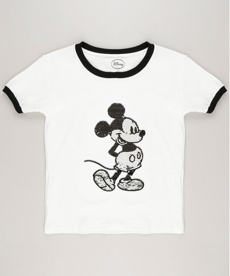 889e0813a Blusa Infantil Mickey Paetê Dupla Face Manga Curta Decote Redondo ...
