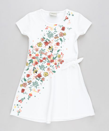 Vestido-Infantil-com-Estampa-de-Flores-Manga-Curta-Off-White-9245622-Off_White_1