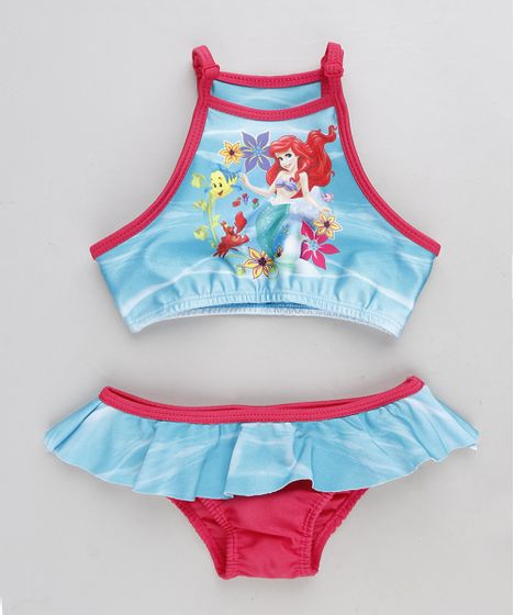 Biquíni Infantil Halter Neck Pequena Sereia Ariel com Proteção UV50+ ... dec7b0e8c19cc