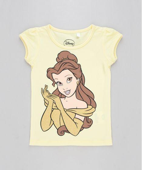 d08e0ff9c Blusa Infantil Princesa Bela Manga Curta Decote Redondo Amarela - cea