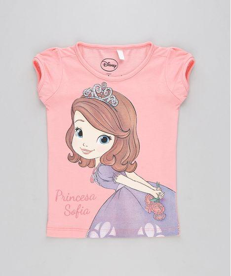 Blusa Infantil Princesa Sofia Manga Curta Decote Redondo Rosa - cea 4ecab54cc88