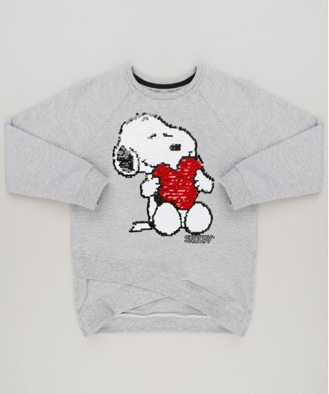 3445ac4d5 Blusão Infantil Snoopy com Paetê Dupla Face em Moletom Manga ...