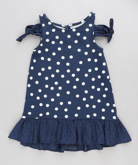 Vestido-Infantil-Open-Shoulder-Estampado-de-Poa-com-No-e-Babado-Azul-Marinho-9213135-Azul_Marinho_1