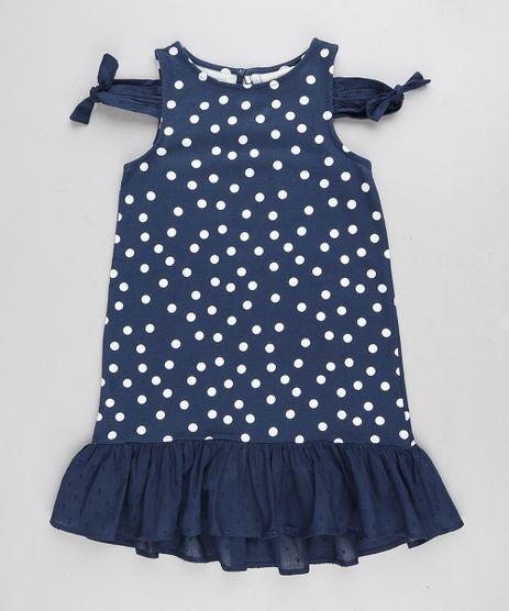 Vestido-Infantil-Open-Shoulder-Estampado-de-Poa-com-No-e-Babado-Azul-Marinho-9212910-Azul_Marinho_1
