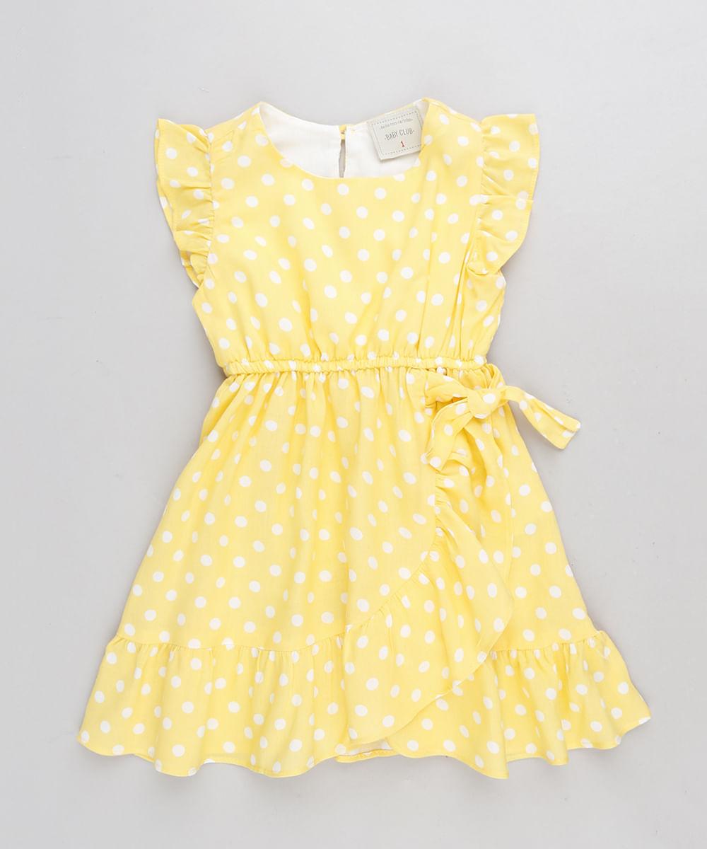 Vestido Infantil Estampado De Poá Com Nó E Babado Amarelo