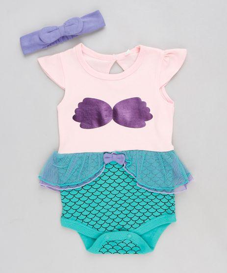 Body-Infantil-Pequena-Sereia-Ariel-Manga-Curta-com-Faixa-de-Cabelo-Rosa-Claro-9120549-Rosa_Claro_1