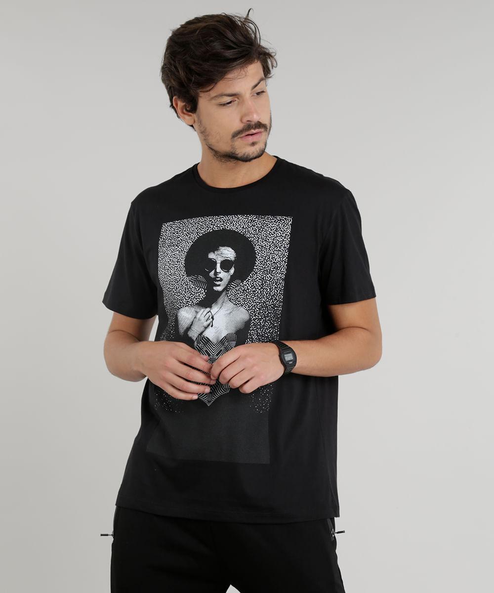39c08a6f23 Camiseta Masculina Mulher Manga Curta Gola Careca Preta - cea