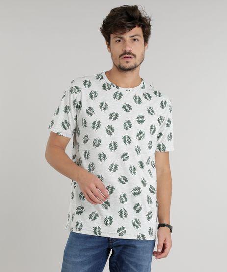 Camiseta-Masculina-Estampada-de-Folhagens-Manga-Curta-Gola-Careca-Cinza-Mescla-Claro-9294426-Cinza_Mescla_Claro_1
