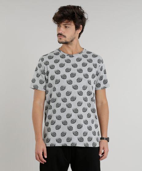 Camiseta-Masculina-Estampada-de-Folhas-Manga-Curta-Gola-Careca-Cinza-Mescla-9294434-Cinza_Mescla_1