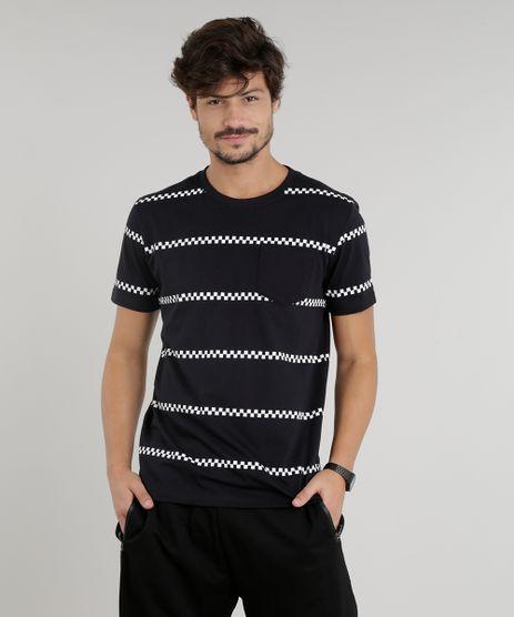Camiseta-Masculina-com-Faixas-Quadriculadas-Manga-Curta-Gola-Careca-Preta-9286211-Preto_1