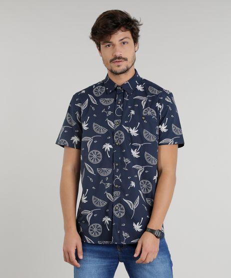 Camisa-Masculina-Estampada-de-Coqueiros-Manga-Curta-Azul-Marinho-9110472-Azul_Marinho_1