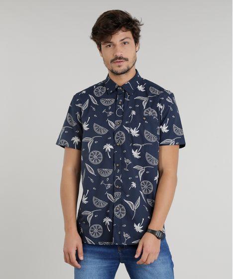 ce304a95a18d0 Camisa Masculina Estampada de Coqueiros Manga Curta Azul Marinho - cea