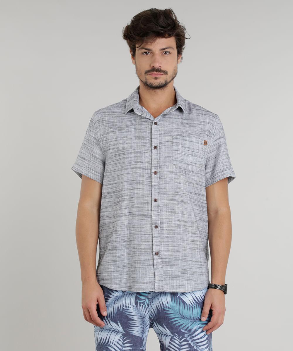 ... Camisa-Masculina-Mescla-Manga-Curta-Cinza-Claro-9226465- cda201ac4500b