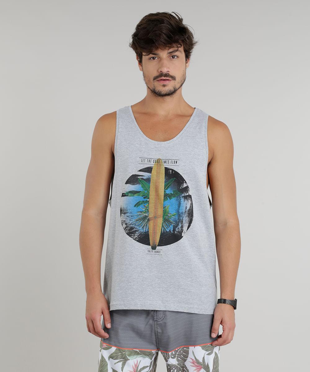 Regata Masculina Prancha de Surf Gola Careca Cinza Mescla ... cbabd55a6fd