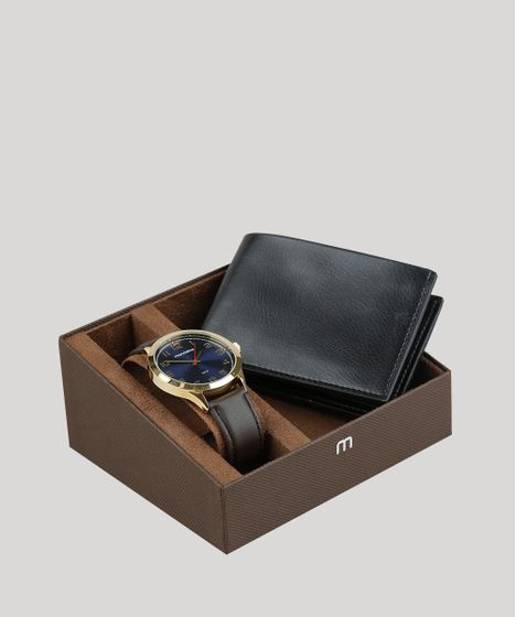 7b8b1579f0b Kit de Relógio Analógico Mondaine Masculino + Carteira - 83445GPMVDH2K  Dourado - cea