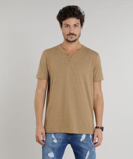 Camiseta-Masculina-Basica-com-Botoes-Manga-Curta-Gola-Careca-Marrom-9324947-Marrom_1