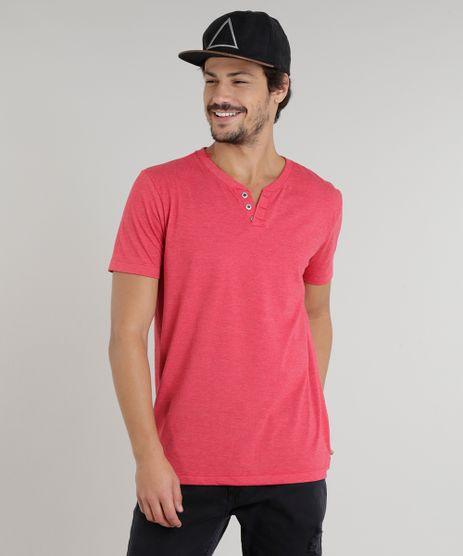 Camiseta-Masculina-Basica-com-Botoes-Manga-Curta-Gola-Careca-Vermelha-9324951-Vermelho_1
