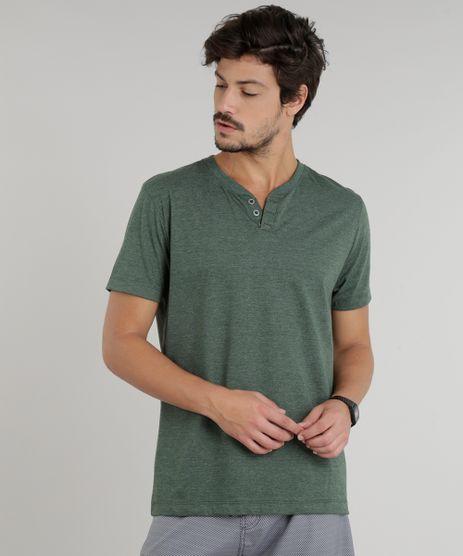 Camiseta-Masculina-Basica-com-Botoes-Manga-Curta-Gola-Careca-Verde-9324950-Verde_1