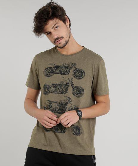 Camiseta-Masculina-Motocicletas-Manga-Curta-Gola-Careca-Verde-Militar-8758273-Verde_Militar_1