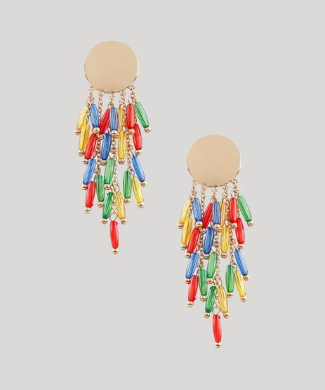 Brinco-Feminino-com-Corrente-e-Micangas-Coloridas-Dourado-9207149-Dourado_1