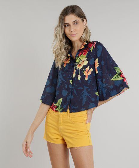 Camisa-Feminina-Cropped-Estampada-Floral-Manga-Curta-Azul-Marinho-9185722-Azul_Marinho_1
