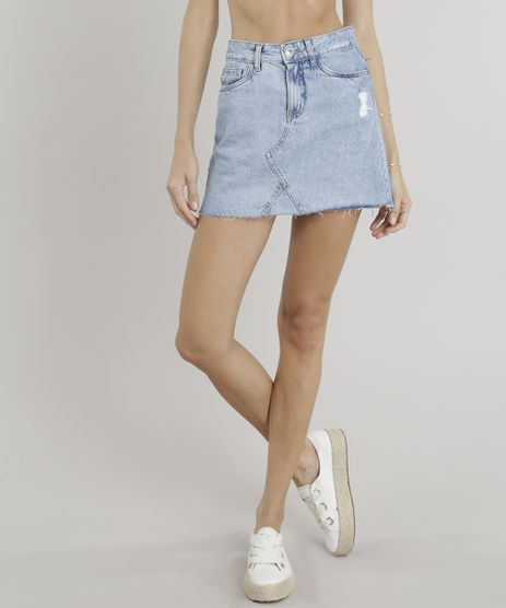 Saia-Jeans-Feminina-Evase-Destroyed-com-Barra-Desfiada-Azul-Claro-9310415-Azul_Claro_1