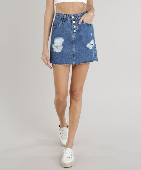 Saia-Jeans-Feminina-Evase-Destroyed-com-Barra-Desfiada-Azul-Escuro-9310412-Azul_Escuro_1