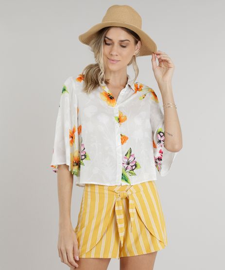 Camisa-Feminina-Cropped-Estampada-Floral-Manga-Curta-Off-White-9185722-Off_White_1