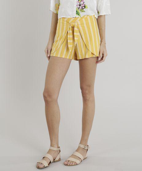 Short-Feminino-Listrado-com-No-Amarelo-9285883-Amarelo_1