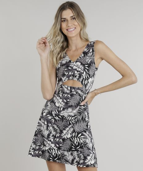 Vestido-Feminino-Curto-Evase-Estampado-de-Folhagens-com-Recorte-Vazado-Decote-V-Preto-9009329-Preto_1